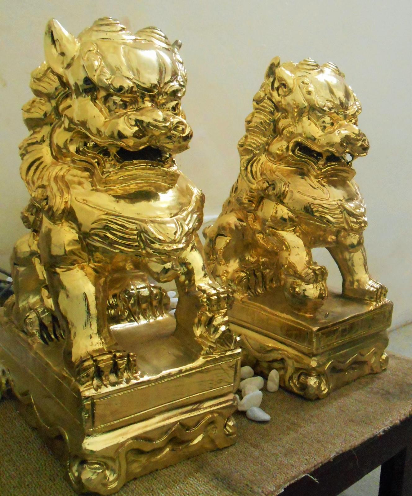 nghê đá mạ vàng