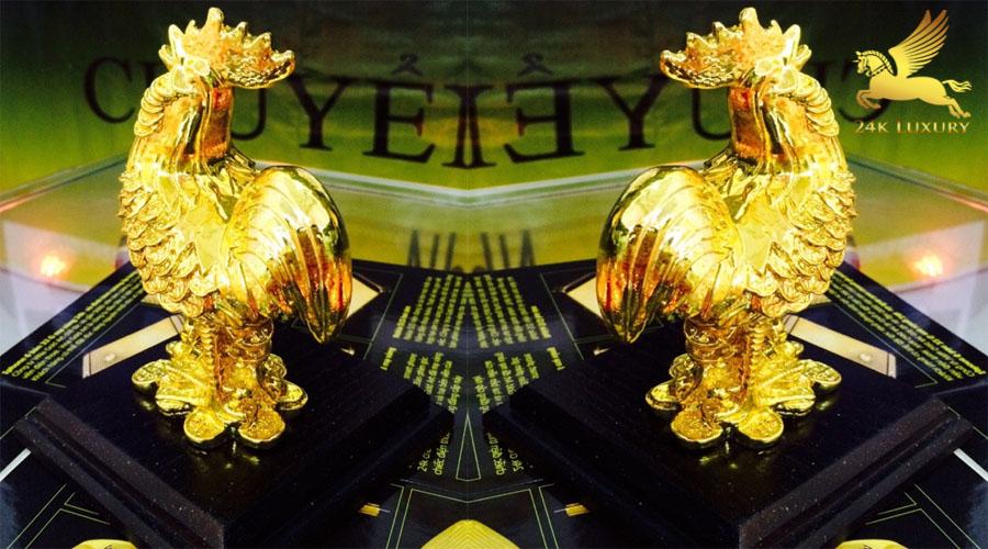 Tượng gà phong  thuỷ mạ vàng - Vina Gold Art