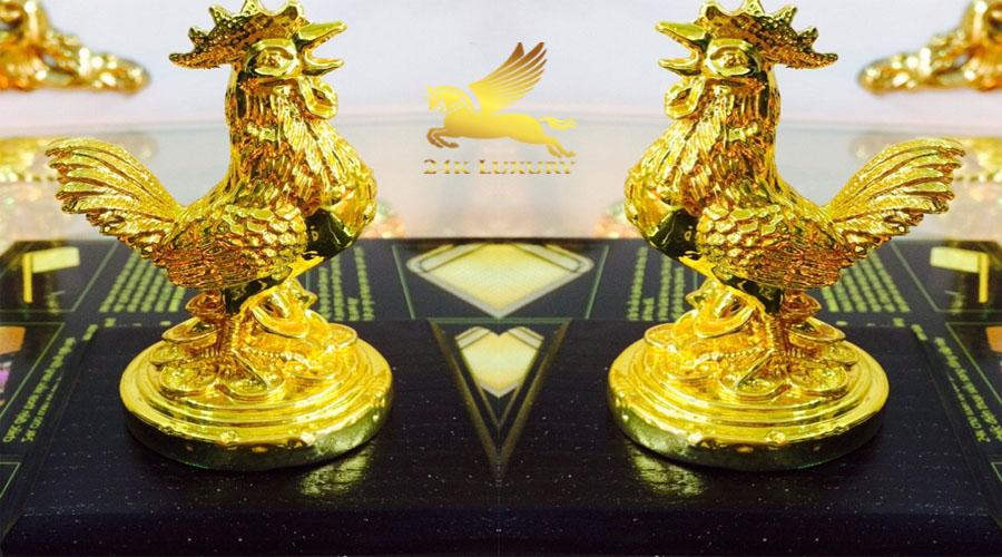 Tượng gà trống mạ vàng - Vina Gold Art