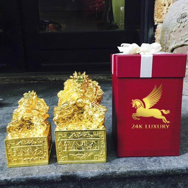 Ấn rồng mạ vàng 24k tại Vina Gold Art