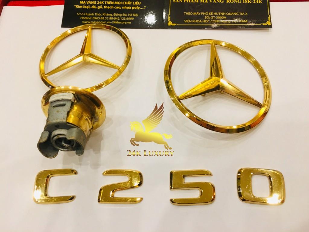 logo ô tô mercedes mạ vàng