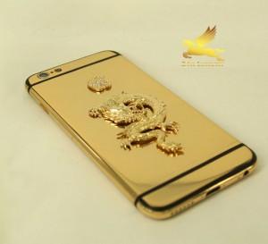 Iphoen 6 mạ vàng 24k gắn rồng vànggắn táo đính đá