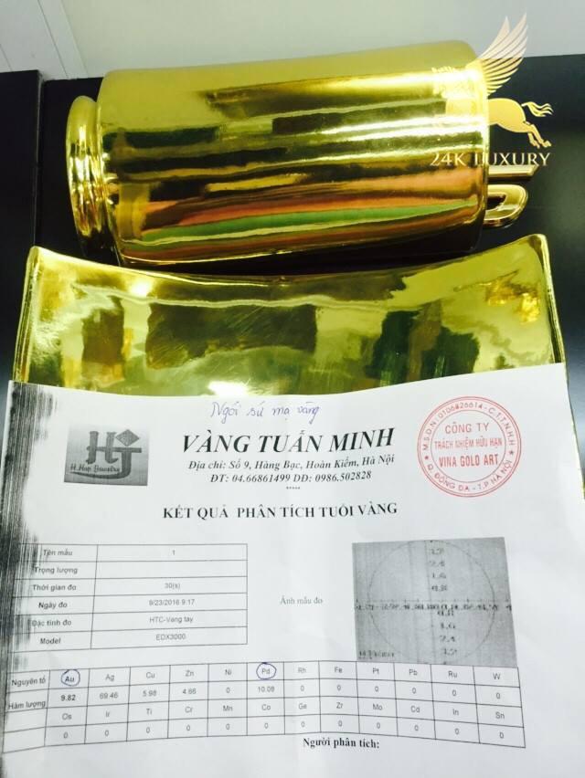 Kết quả kiểm định chất lượng vàng trên ngói sứ mạ vàng
